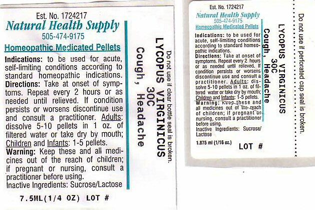 Cough Headache (Lycopus Virginicus) Pellet [Natural Health Supply]