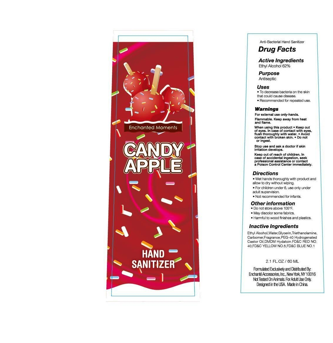 Enchanted Moments Candy Apple Hand Sanitizer (Alcohol) Liquid [Enchante Accessories Inc. ]