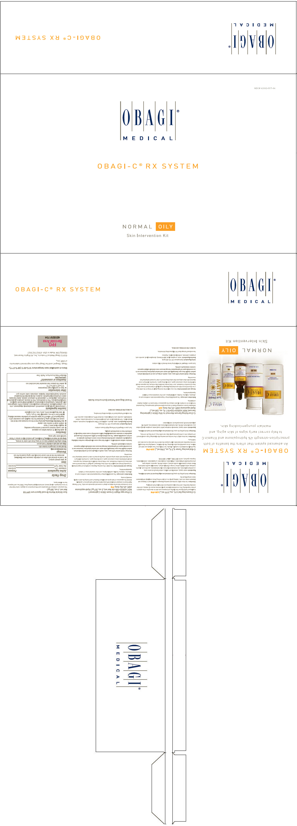 Obagi-c Rx System Normal-oily Skin Intervention (Hydroquinone, Octinoxate And Zinc Oxide) Kit [Omp, Inc.]