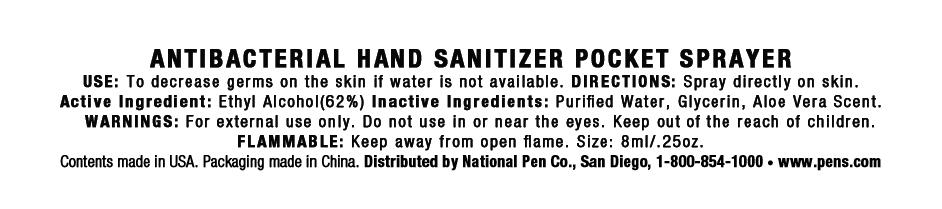 Antibacterial Hand Sanitizer Pocket Sprayer (Alcohol) Spray [National Pen Co., Llc]
