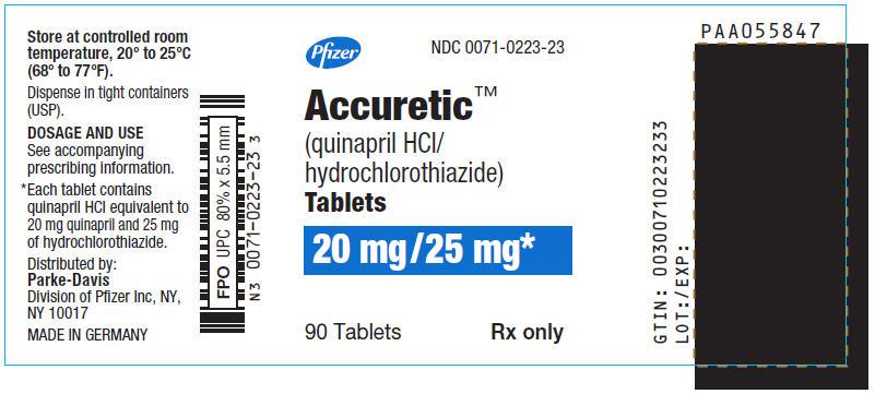 PRINCIPAL DISPLAY PANEL - 20 mg/25 mg Tablet Bottle Label