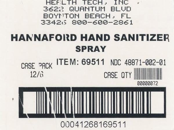 Hannaford shipping label