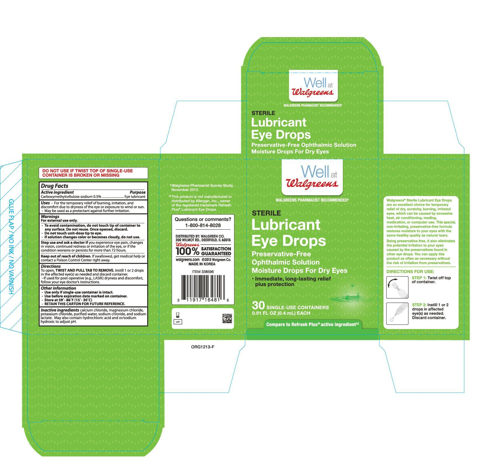 Walgreen Sterile Lubricant Drops 30 Count (Carboxymethylcellulose Sodium) Solution/ Drops [Walgreen Company]