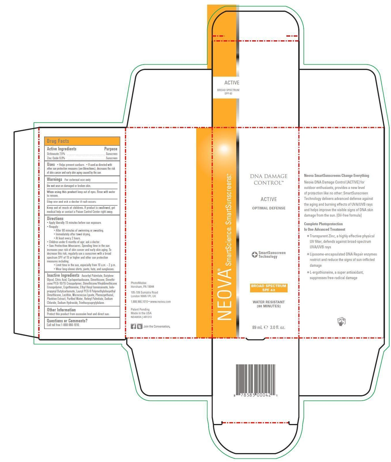 Neova Dna Damage Control – Active Broad Spectrum Spf 43 (Octinoxate, Zinc Oxide) Emulsion [Photomedex, Inc.]