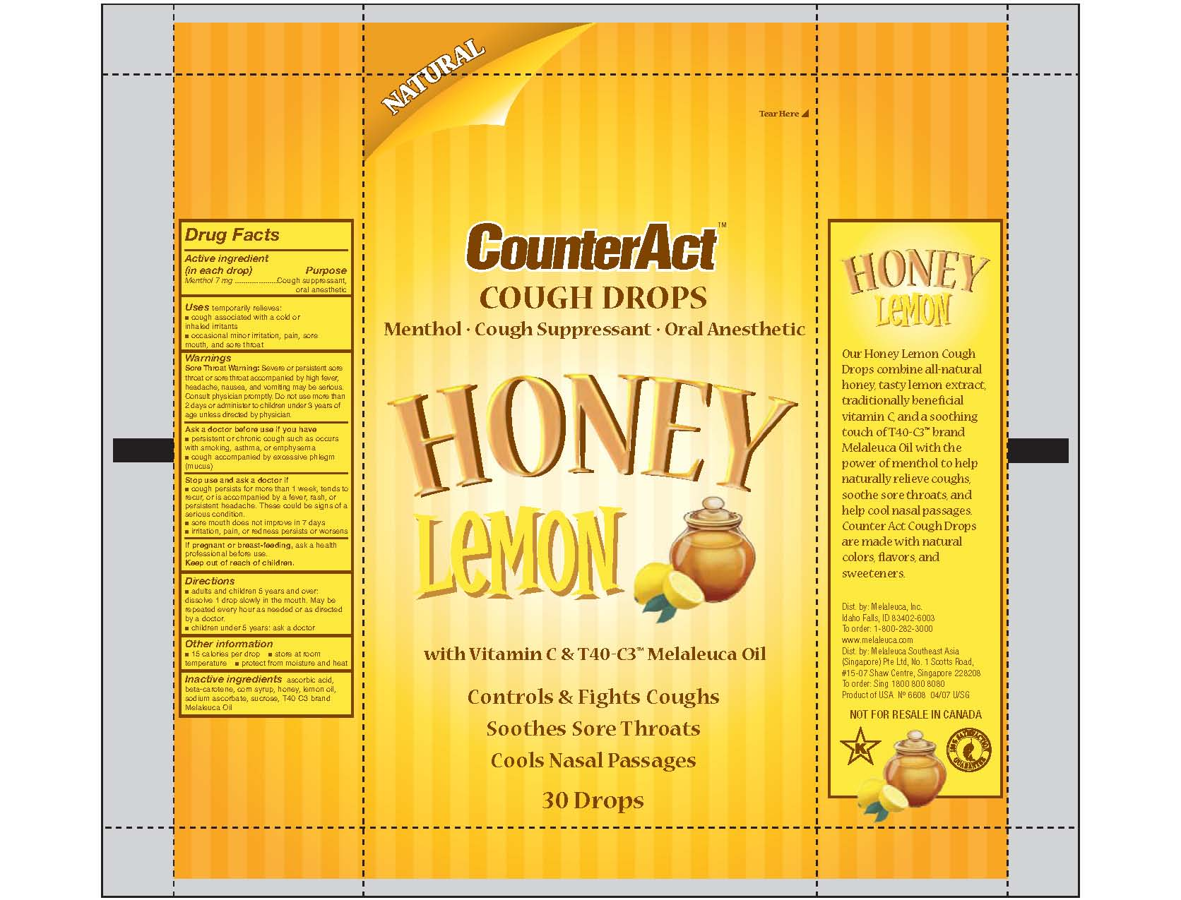Counteract Cough Drops Honey Lemon (Menthol) Lozenge [Melaleuca, Inc.]