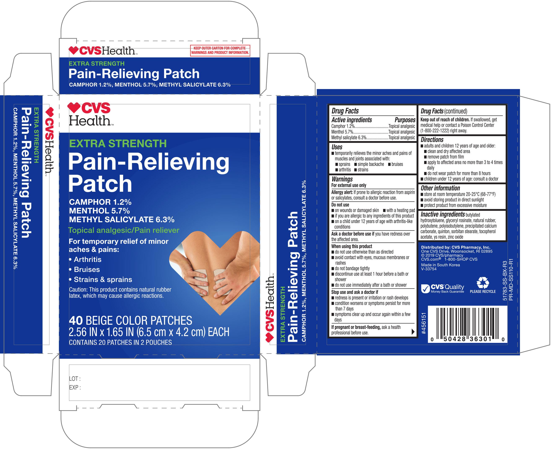 Cvs Medicated Pain-relieving (Camphor, Menthol, Menthyl Salicylate) Patch [Cvs Pharmacy, Inc.]