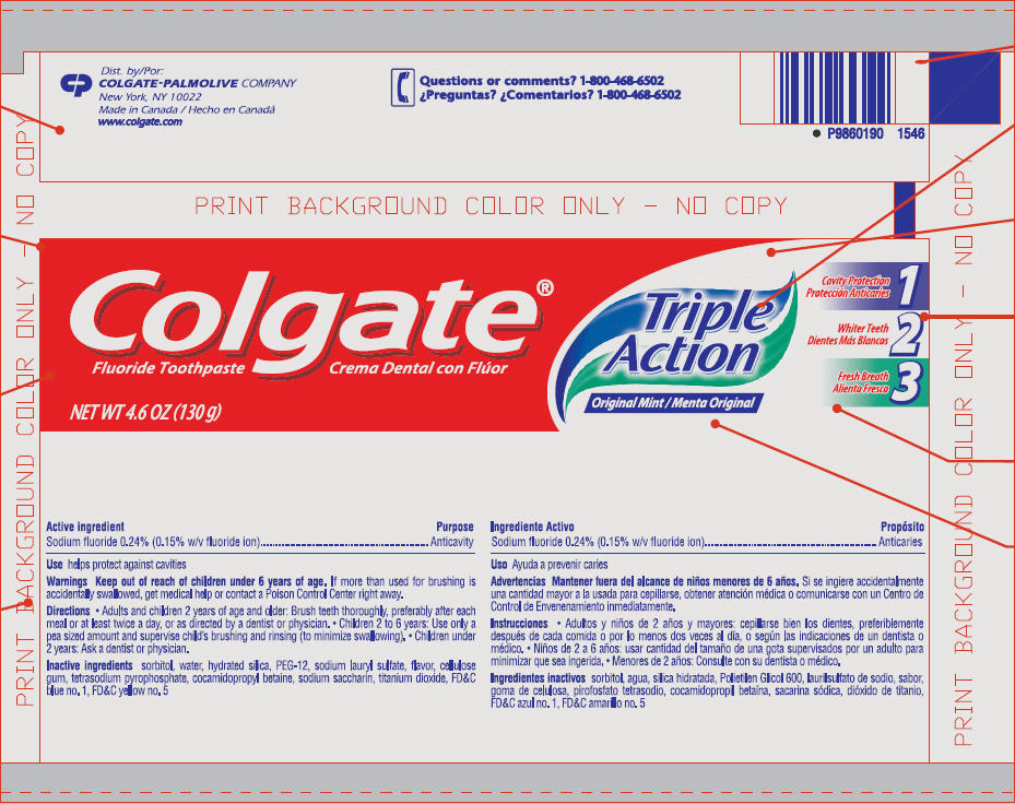Colgate Triple Action Original Mint Fluoride (Sodium Fluoride) Paste, Dentifrice [Colgate-palmolive Canada]