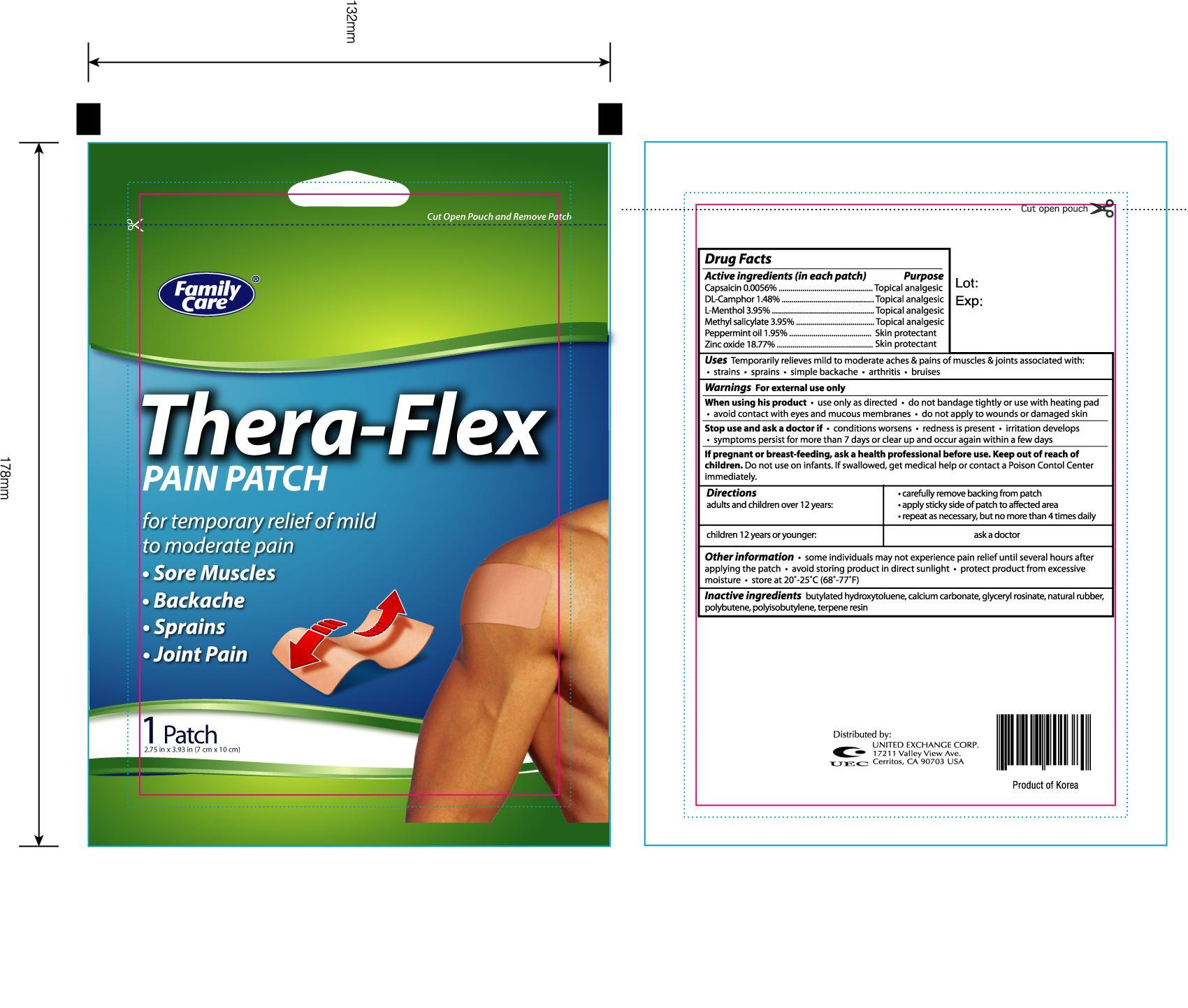 Family Care Thera Flex Pain (Capsaicin, Camphor, Menthol, Methyl Salicylate, Peppermint Oil, Zinc Oxide) Patch [United Exchange Corp]