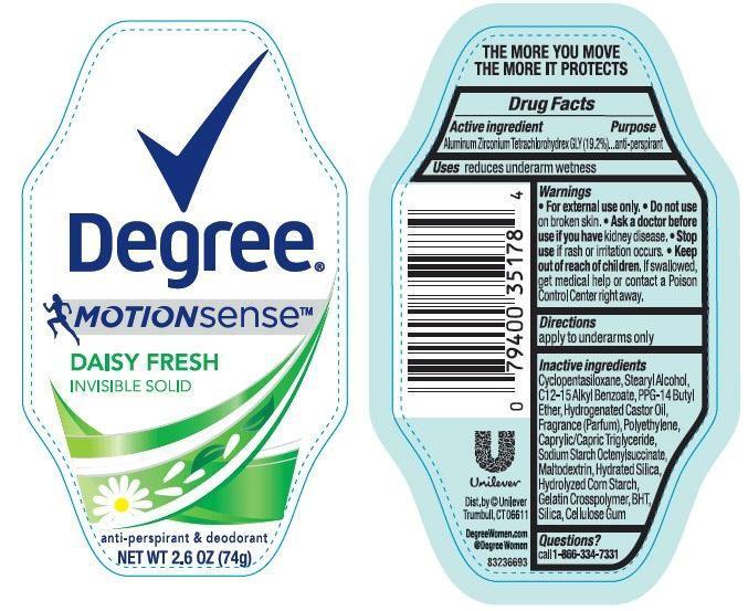 Degree Motion Sense Daisy Fresh Antiperspirant And Deodorant (Aluminum Zirconium Tetrachlorohydrex Gly) Stick [Conopco Inc. D/b/a Unilever]