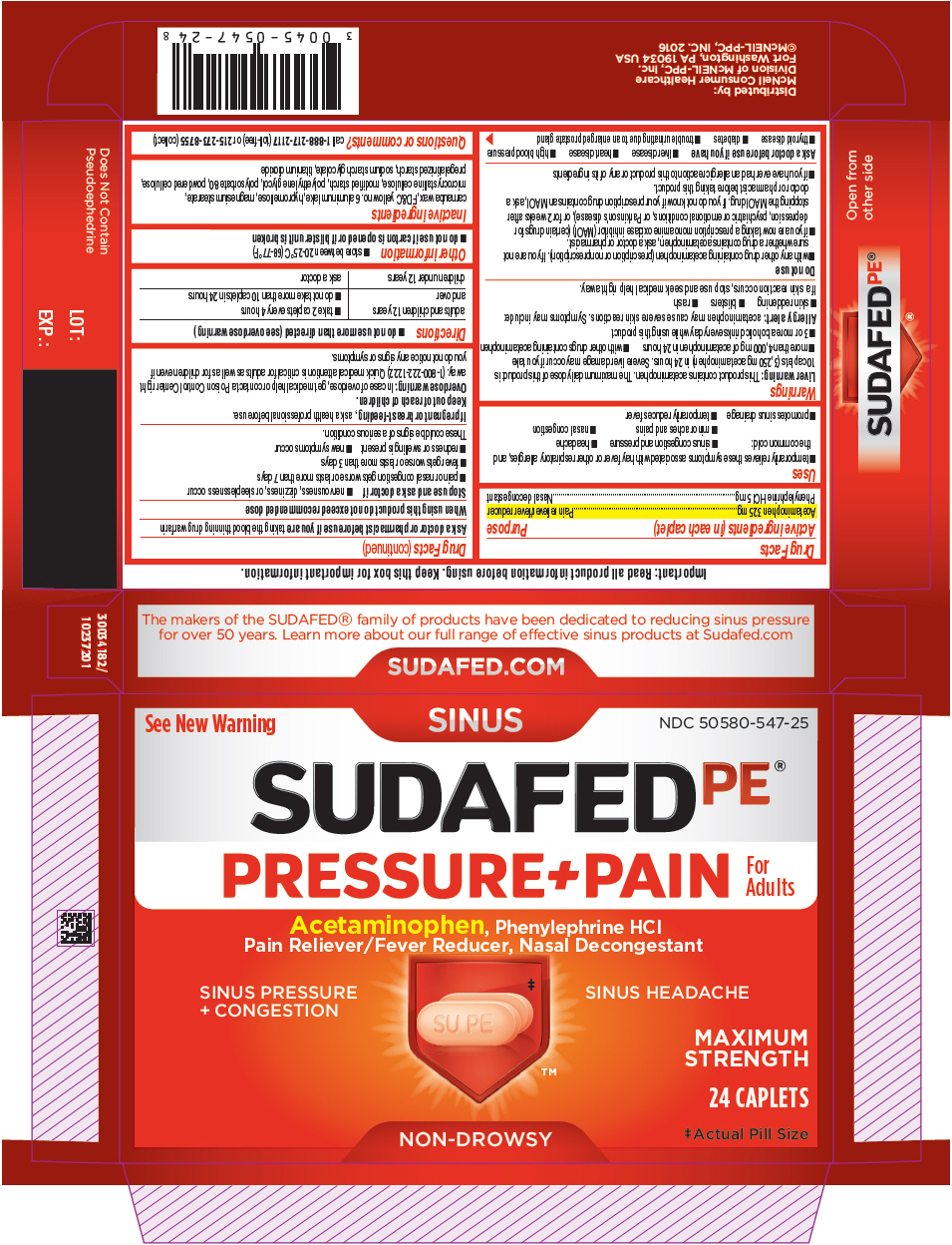 Sudafed Pe Pressure Plus Pain (Acetaminophen And Phenylephrine Hydrochloride) Tablet, Film Coated [Mcneil Consumer Healthcare Div. Mcneil-ppc, Inc]