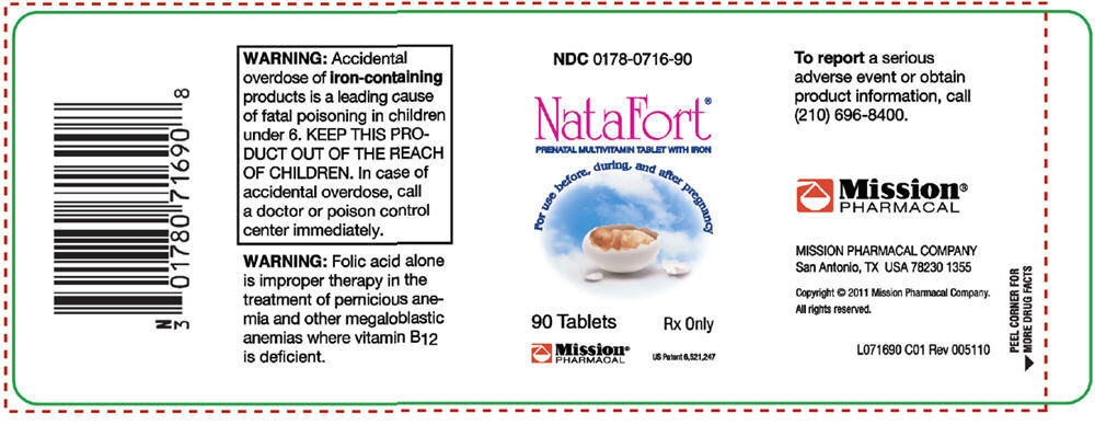 Natafort (Ascorbic Acid, Cholecalciferol, .alpha.-tocopherol Acetate, Dl-, Thiamine Mononitrate, Riboflavin, Niacinamide, Pyridoxine Hydrochloride, Folic Acid, Cyanocobalamin, And Iron) Tablet [Mission Pharmacal Company]