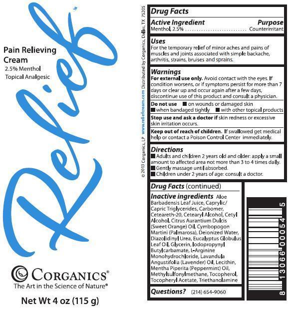 Relief Pain Relieving Cream (Menthol) Cream [Corganics, Lp]