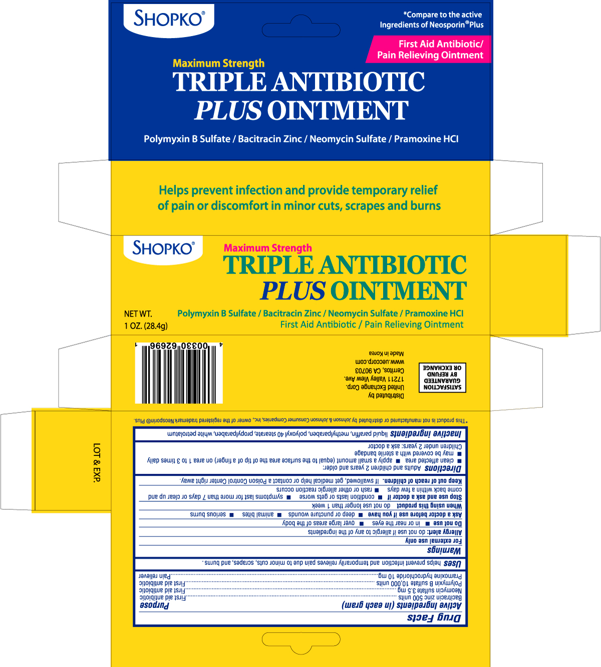 Shopko Triple Antibiotic Plus (Bacitracin Zinc, Neomycin Sulfate, Polymyxin B Sulfate, Pramoxine Hydrochloride) Ointment [United Exchange Corp.]