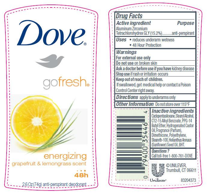 Dove Go Fresh Energizing Antiperspirant And Deodorant (Aluminum Zirconium Tetrachlorohydrex Gly) Stick [Conopco Inc. D/b/a Unilever]