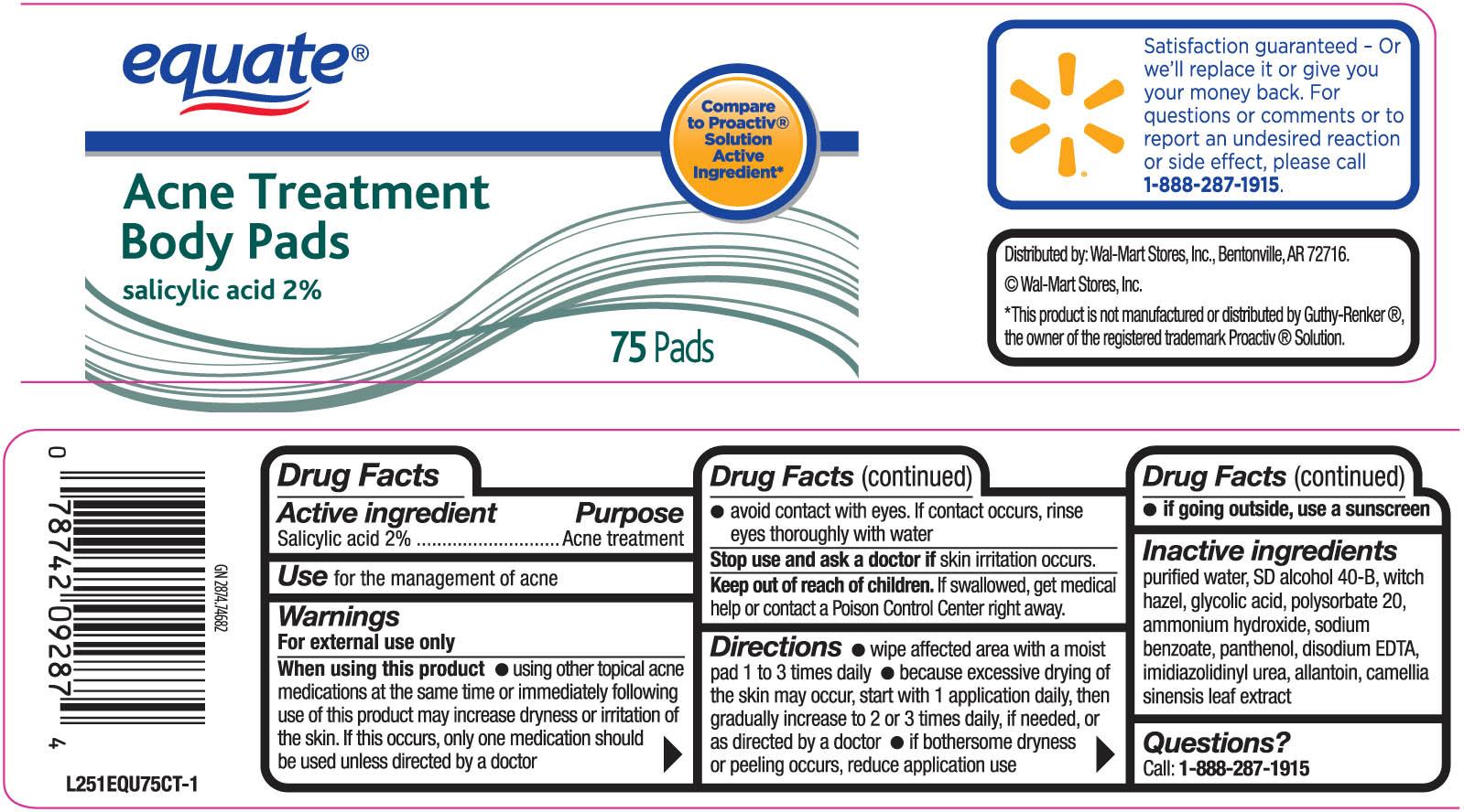 Equate Acne Treatment Body Pads (Salicylic Acid) Swab [Wal-mart Stores Inc]