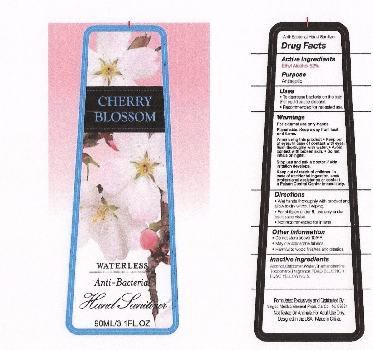 Cherry Blossom Waterless Anti-antibateria Hand Sanitizer (Alcohol) Liquid [Ningbo Meiduo General Products Co., Ltd]