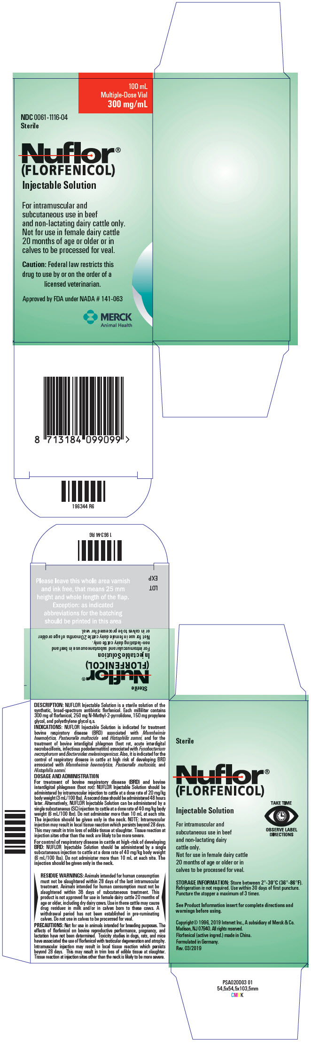 Nuflor (Florfenicol) Injection, Solution [Merck Sharp & Dohme Corp.]