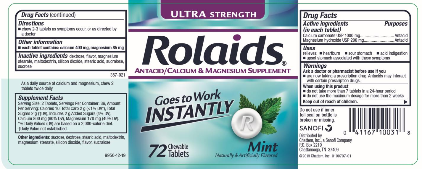 Rolaids Ultra Strength Mint (Calcium Carbonate And Magnesium Hydroxide) Tablet, Chewable [Chattem, Inc.]