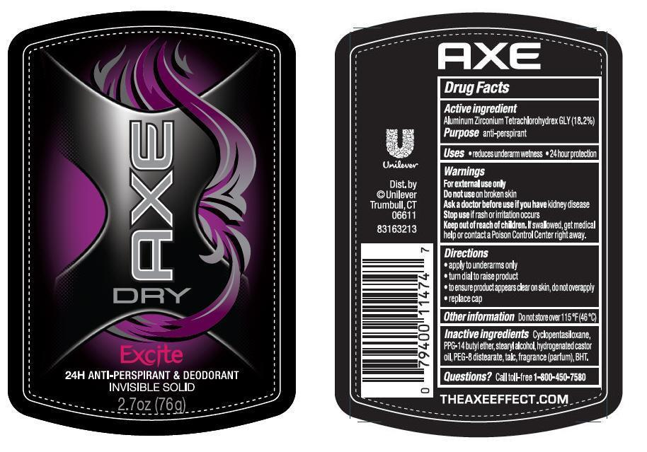 Axe Dry Excite (Aluminum Zirconium Tetrachlorohydrex Gly) Stick [Conopco Inc. D/b/a Unilever]