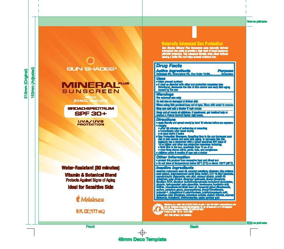 Sun Shades Mineral Plus Sunscreen With Zinc Oxide (Octisalate 5%, Octocrylene 3%, Zinc Oxide 10.5%) Lotion [Melaleuca Inc.]