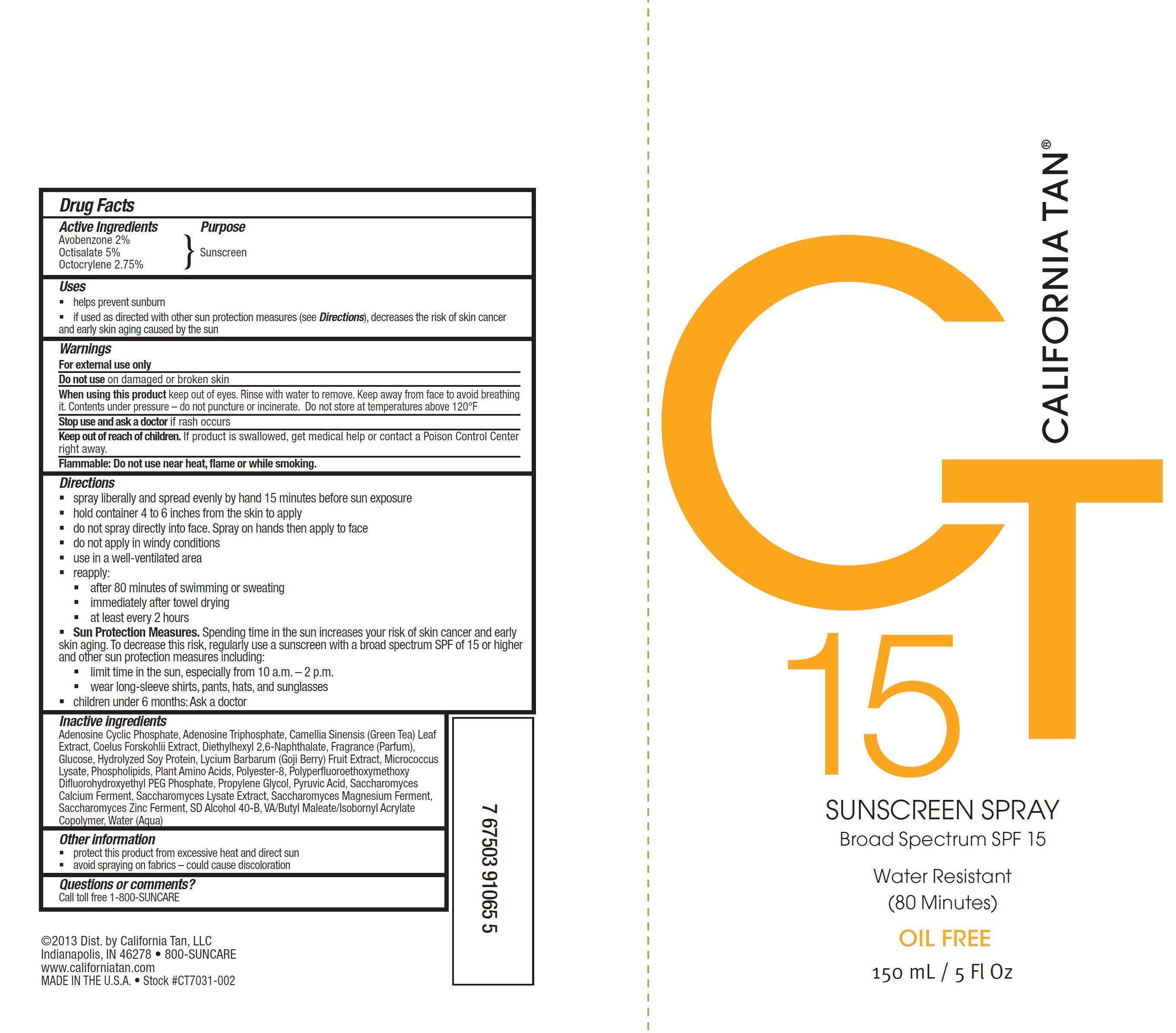California Tan Broad Spectrum Spf 15 (Avobenzone, Octisalate And Octocrylene) Spray [Prime Packaging, Inc.]