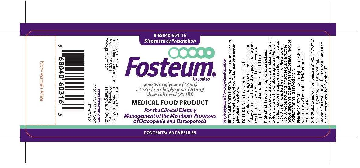 Fosteum (Genistein, Zinc Glycinate Citrate, And Cholecalciferol) Capsule [Primus Pharmaceuticals, Inc.]