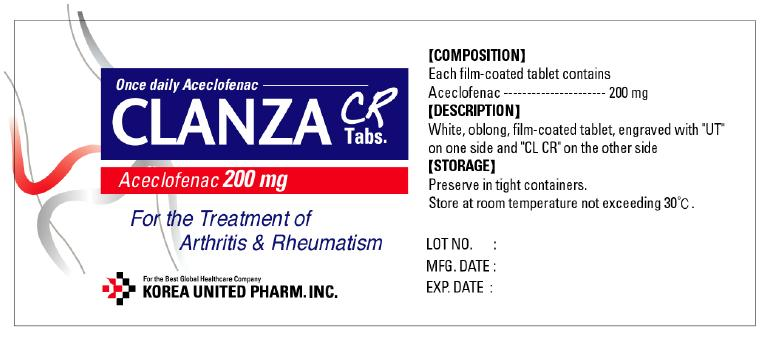 Clanza Cr (Aceclofenac) Tablet, Film Coated [United Douglas Pharm., Inc.]