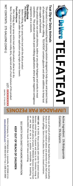 Telfateat (Bisbiguanide Teat Dip) Liquid [Devere Company, Inc.]