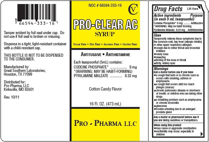 Pro-clear Ac (Codeine Phosphate And Pyrilamine Maleate) Syrup [Pro-pharma Llc]