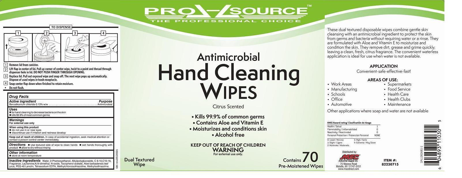 Pro-source Antimicrobial Hand Cleaning Wipes (Benzalkonium Chloride) Cloth [Msc Industrial Supply]