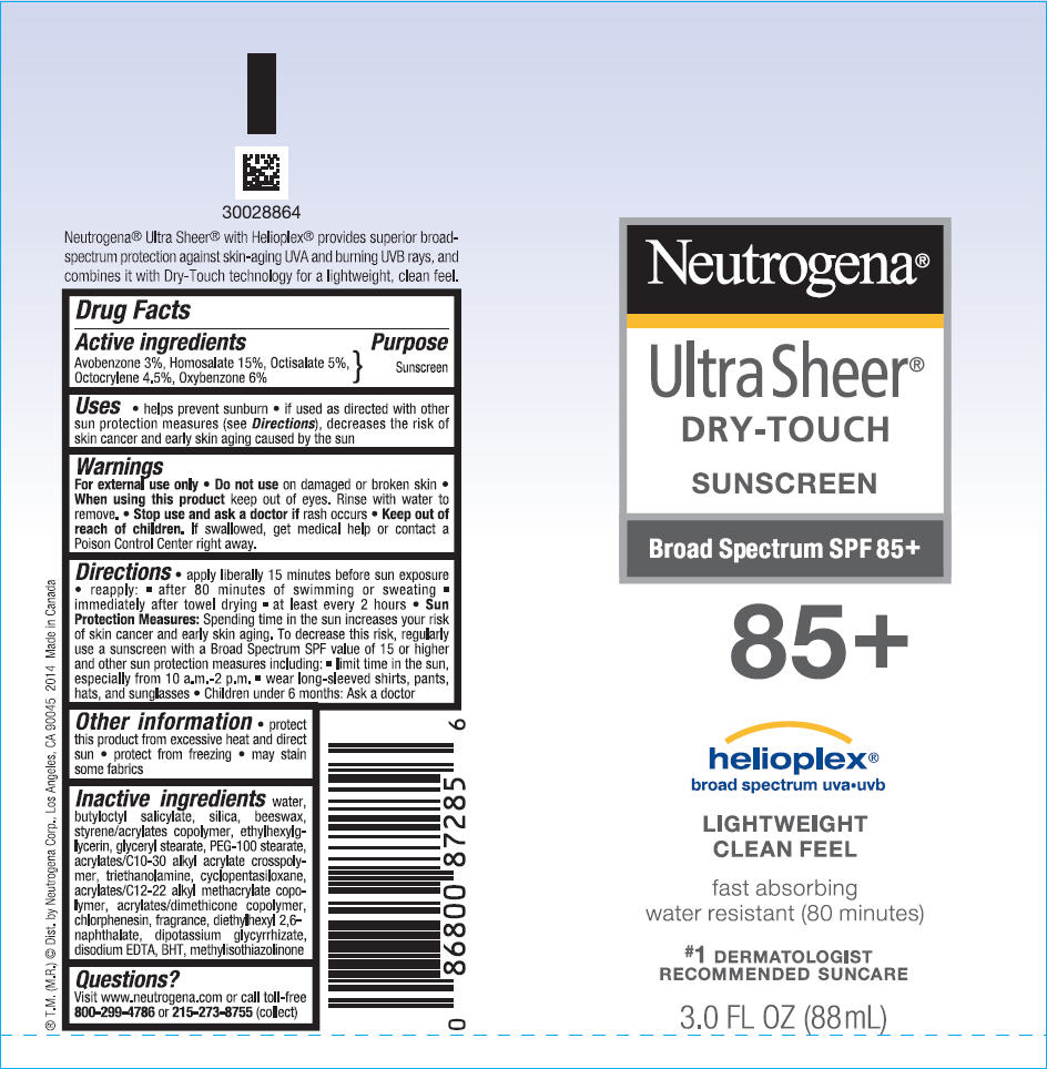 Neutrogena Ultra Sheer Dry Touch Sunscreen Broad Spectrum Spf85 Plus (Avobenzone, Homosalate, Octisalate, Octocrylene, And Oxybenzone) Lotion [Neutrogena Corporation]