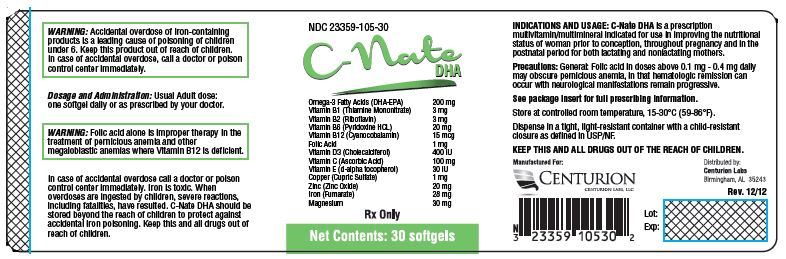 C-nate Dha (Omega-3 Fatty Acids, Icosapent, Doconexent, Thiamine Mononitrate, Riboflavin, Pyridoxine Hydrochloride, Cyanocobalamin, Folic Acid, Cholecalciferol, Ascorbic Acid, .alpha.-tocopherol, D-, Cupric Sulfate, Zinc Oxide, Ferrous Fumarate And Magnesium Oxide) Capsule, Gelatin Coated [Centurion Labs, Llc]