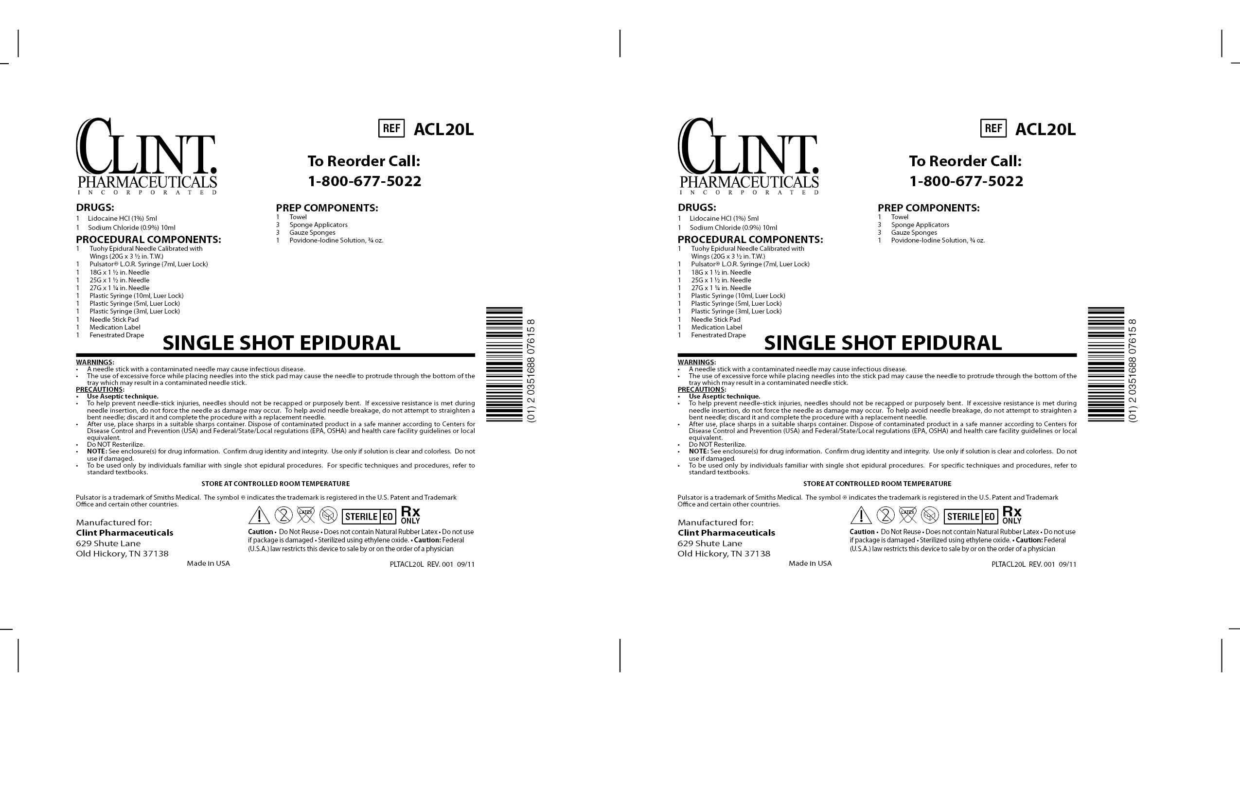Acl20l Single Shot Epidural () Kit [Clint Pharmaceuticals, Inc.]