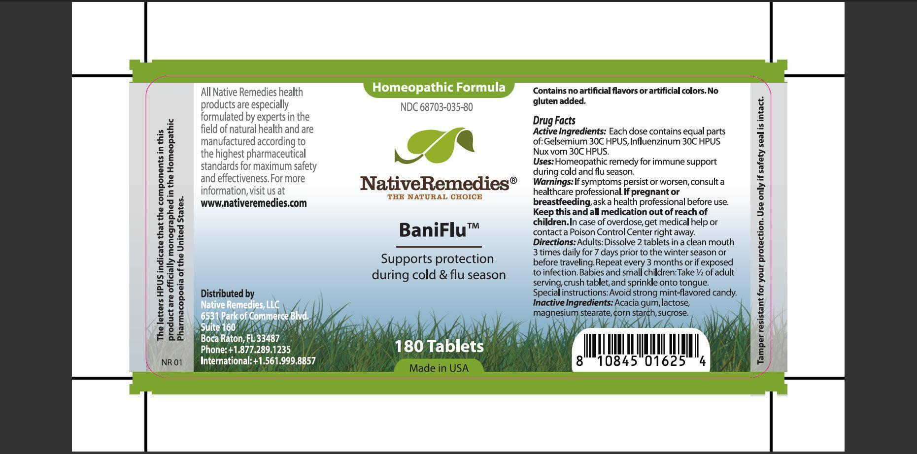 Baniflu (Gelsemium, Influenzinum, Nux Vom) Tablet [Native Remedies, Llc]
