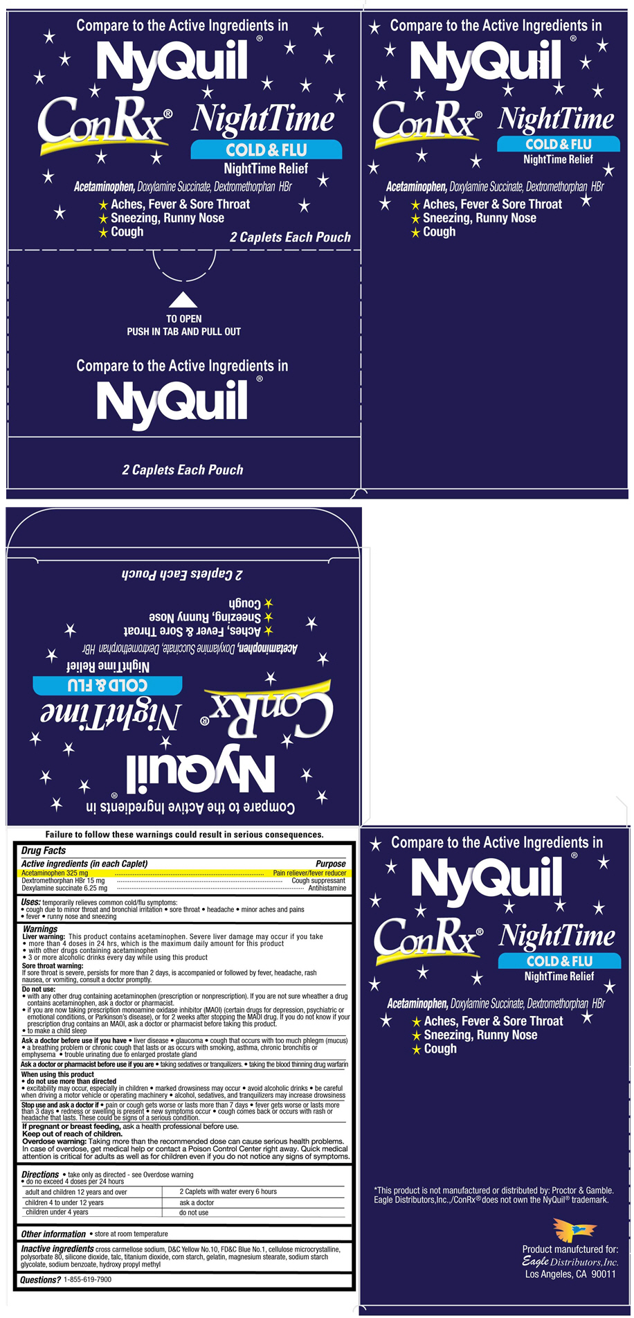 Conrx Nighttime (Acetaminophen, Dextromethorphan Hydrobromide, And Doxylamine Succinate) Tablet [Eagle Distributors,inc.]