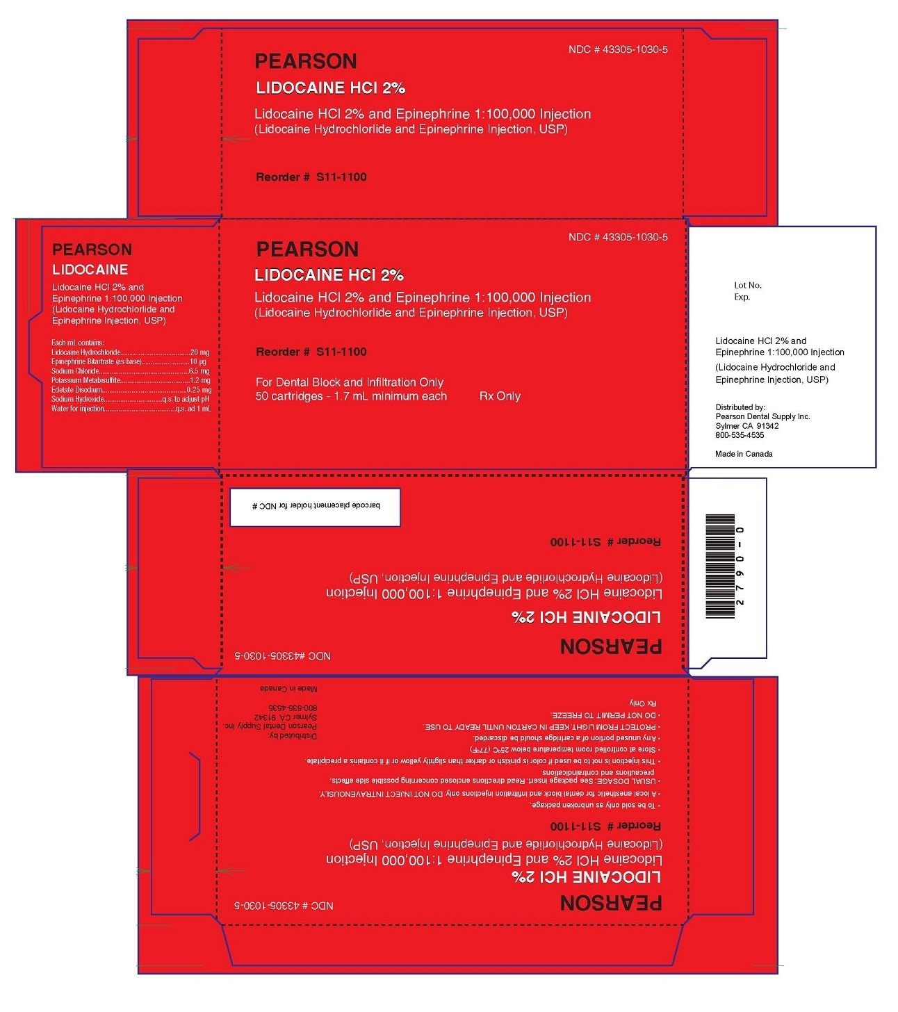 Lidocaine Hcl (Lidocaine Hydrochloride And Epinephrine Bitartrate) Injection, Solution [Pearson Dental ]