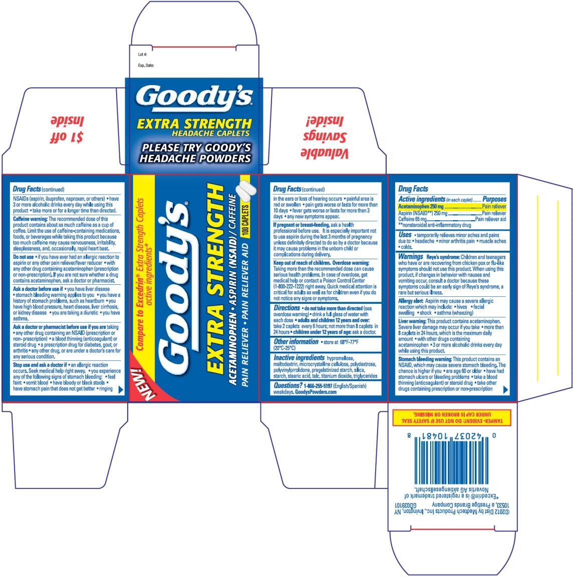 Goodys Pm Pain Reliever (Acetaminophen And Aspirin And Caffeine) Capsule, Coated [Medtech Products Inc.]