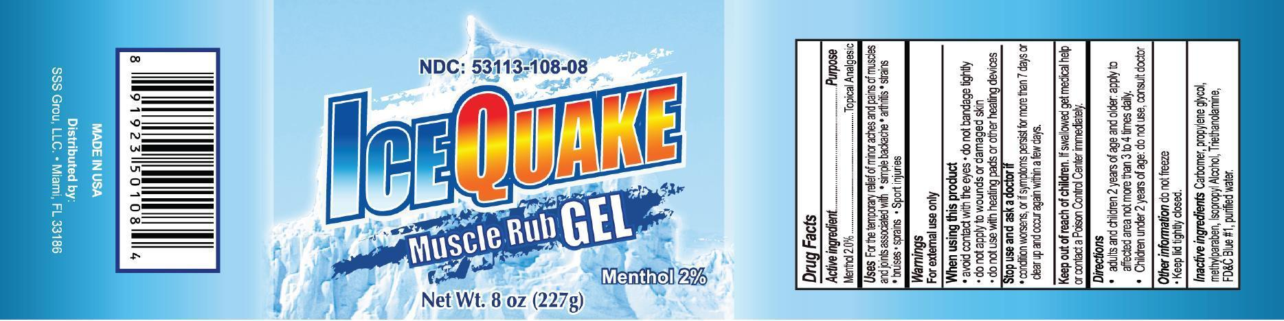 Ice Quake Muscle Rub (Menthol) Gel [Gadal Laboratories Inc]