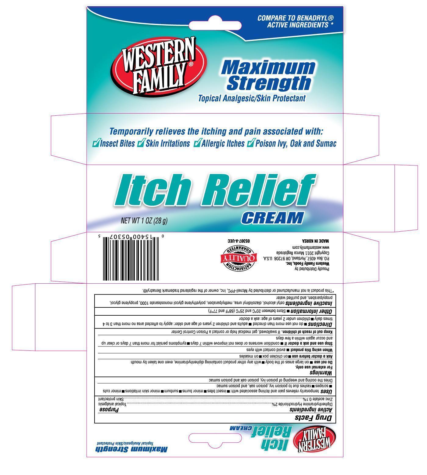 Western Family Itch Relief (Diphenhydramine Hydrochloride, Zinc Acetate) Cream [Western Family Food, Inc.]