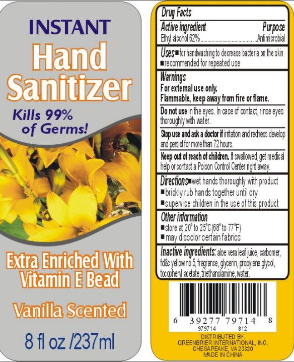 Instant Hand Sanitizer – Vanilla Scented (Alcohol) Liquid [Core Brands, Inc.]
