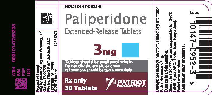Paliperidone Tablet, Extended Release [Patriot Pharmaceuticals, Llc]