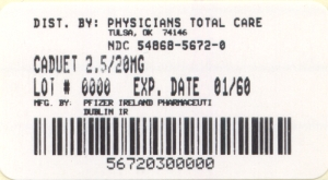 image of 2.5/20 mg package label
