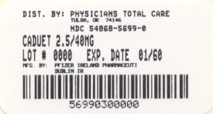 image of 2.5/40 mg package label