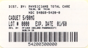 image of 5/80 mg package label