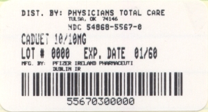 image of 10/10 mg package label