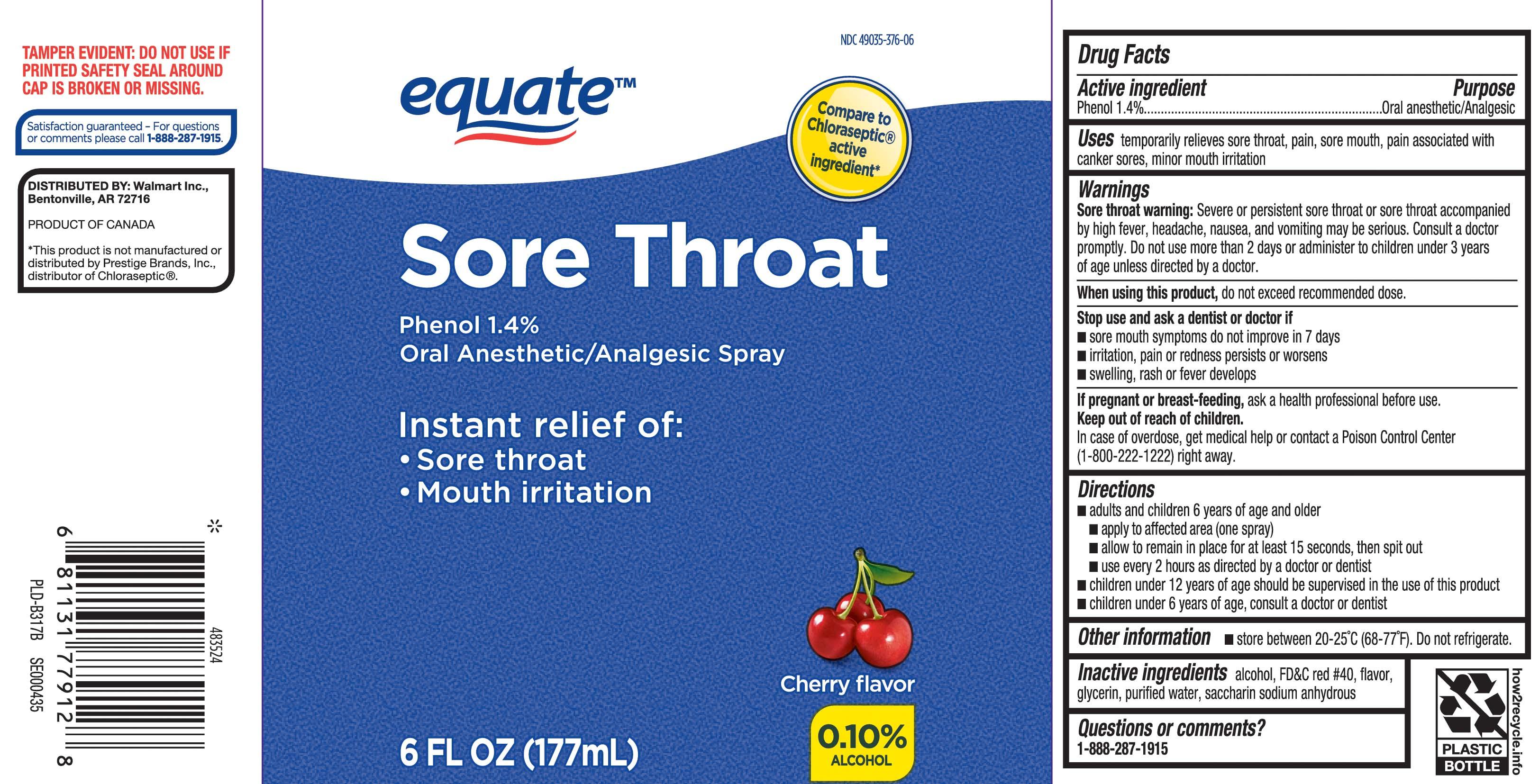Sore Throat (Phenol) Spray [Equate (Walmart Stores, Inc.)]