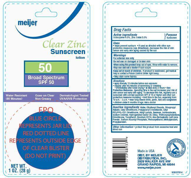 Meijer Clear Zinc Spf 50 (Octocrylene, Zinc Oxide) Lotion [Meijer Distribution Inc]