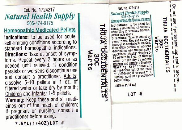 Warts (Thuja Occidentalis Leafy Twig) Pellet [Natural Health Supply]