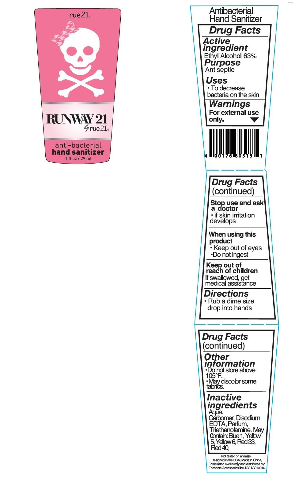 Rue21 Runway 21 Antibacterial Hand Sanitizer (Alcohol) Liquid [Enchante Accessories Inc. ]