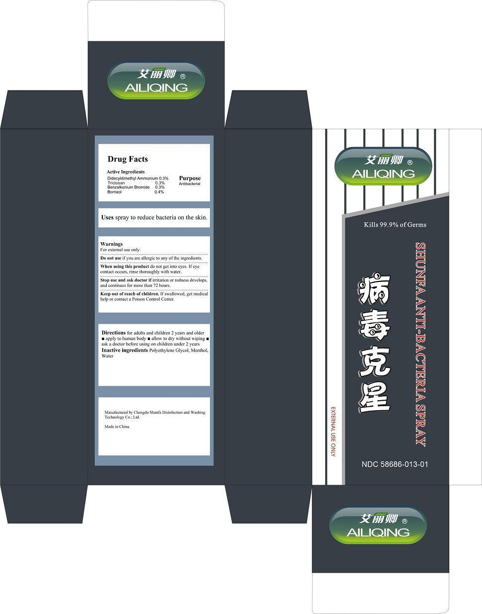 Shunfa Anti-bacteria Spra (Didecyldimethyl Ammonium,triclosan, Borneol, Benzalkonium Bromide) Spray [Chengdu Shunfa Disinfection And Washing Technology Co Ltd]